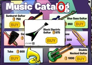 Club Penguin Black Electric Guitar