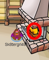 The first fiery object is in the fireplace of the Ski Lodge