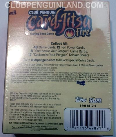Club Penguin Card-Jitsu Fire Cards Box Back