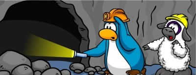 penguins-exploring-mine-cave