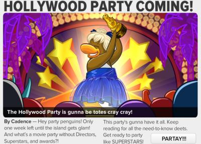 Image of the Hollywood Party and a penguin in a blue skirt holding up an award