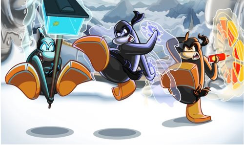 Image of card-jitsu water fire and ice penguins