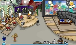 Image of the back stage in Club Penguin