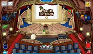 Image of the stage in Club Penguin