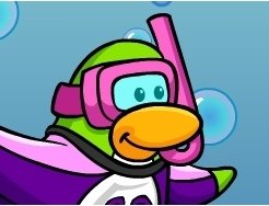 Image of Club Penguin with a pink board suit and snorkel