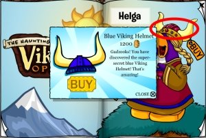 Image of the Blue and Gold Viking Helmet on Club Penguin